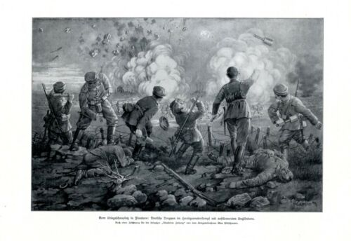 Germany vs. England soldiers hand grenade combat XL 1916 art print battle WW 1