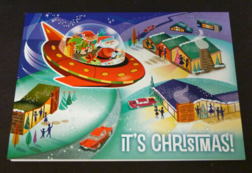 New Vintage Style Santa Flying Saucer Mid-Century Mod Atomic Retro XMAS Card