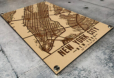 New York Street Map (Laser Engraved New York Map Etched on 1/2