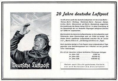 20 Jahre Deutsche Luftpost Reklame 1939 Reichspost Werbung