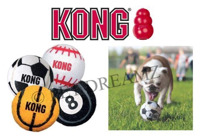 KONG SPORT BALLS - DOG PUPPY TOUGH RUBBER TENNIS BALLS FOOTBALL