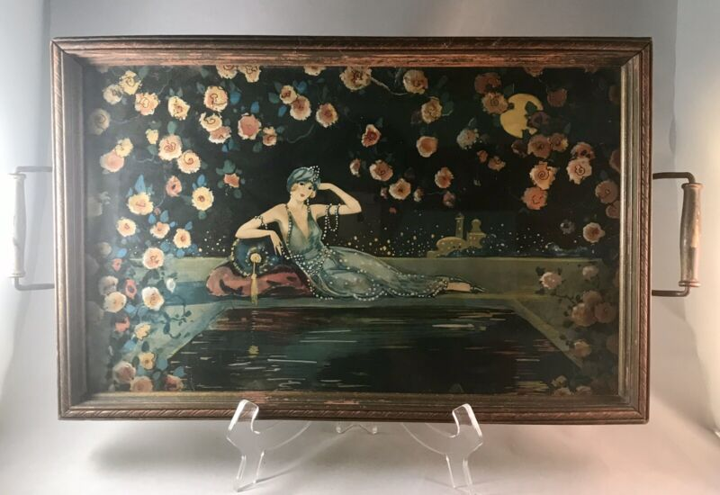 Vintage 1920s Painting Flapper Woman Under Glass Wooden Two Handled Tray