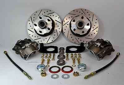 1964 1965 1966 1967 FORD MUSTANG FRONT DISC BRAKE KIT DRILLED SLOTTED ROTORS NEW