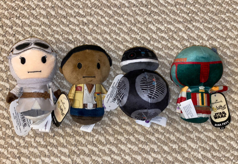 New Hallmark Itty Bittys 4 Pack Star Wars Plush Rey Finn BB Unit Boba Fett