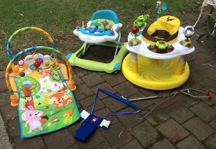 Baby walker, jolly jumper, exersaucer and play mat