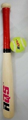 """17"""" High Quality Wooden Baseball Bat With Tennis Ball Kids Outdoor Game by AQS"""
