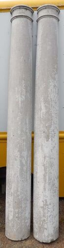 "TWO (2) Impressive 95"" Tall Half-Round Antique Columns Posts Old White Paint"