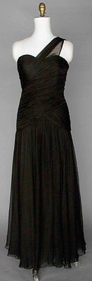 VINTAGE COUTURE ADELE SIMPSON BLACK CHIFFON SILK EVENING GOWN c 1977