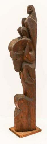Dudley C. Carter  Eagle and Ram Totem Carved Redwood