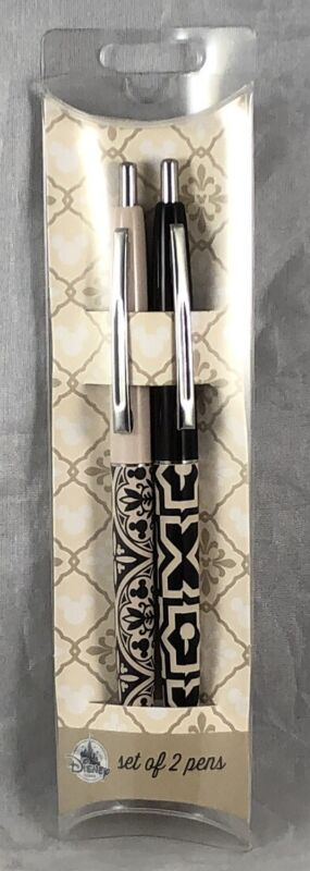Disney Parks Mickey Mouse Icon Set of 2 Pens Tan Black Homestead Collection NEW