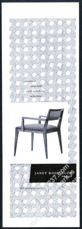 1953 Janet Rosenblum modern caneback chair photo vintage print ad