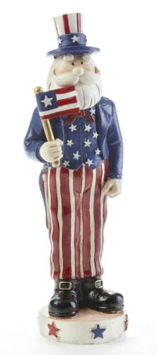 """NEW UNCLE SAM Figure Americana 7.7"""" Tall Red White Blue Resin Patriotic"""