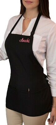 1 New Black Waitress Apron 3 Pocket Waist Waiter Restaurant Bib Custom