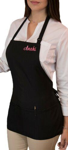 1 new black Waitress apron 3 pocket waist waiter restaurant Bib Custom