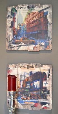 Bild New York Times 2 er Set Wandbild Holzbild Holzschild Druck je 40 x 40   online kaufen