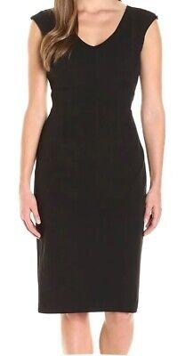 Ivanka Trump Womens Black Dress  UK Size 12 ( 8)Sheath V-Neck Cap Sleeve BNWT