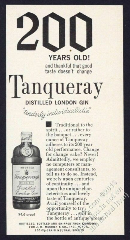 1962 Tanqueray Gin bottle photo