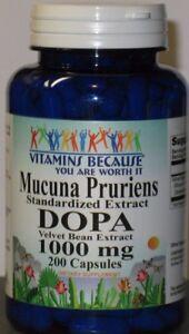 Mucuna Pruriens Extract 1000mg  200 Capsules L-Dopa  Velvet Bean