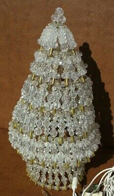 Vintage Safety Pin Christmas Tree Lighted Works 11 inches high ()