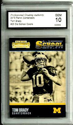 2016 Panini Contenders Old School Colors Tom Brady Gem Mint 10 Wolverines   Pats