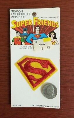 Vintage Super Friends Superman Embroidered Appliqué Patch 1973 (Two Guys Stores)