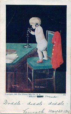 "Vintage Artist-signed UDB postcard~ ""Hello Daddy"" baby girl on phone~ Alice Lee"