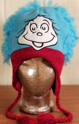 Dr Seuss Red Hat - Dr Seuss Thing One Face Cartoon 2013 Blue Red Knit Beanie Hat