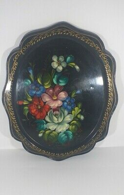 Hand Painted Floral Black Mid Century Vintage Russian Tole Tray