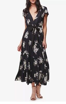 122. Free People All I Got Printed Maxi Dress Floral 6 $168 Black Combo NWT