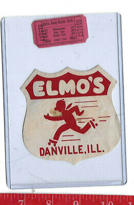 vintage lot roller rink decal Elmo's Danville Illinois & ticket