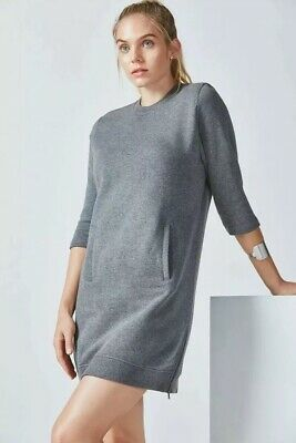 Fabletics Womens M Elena Sweatshirt 3/4 Sleeve Mini Dress Side Zip Black Heather