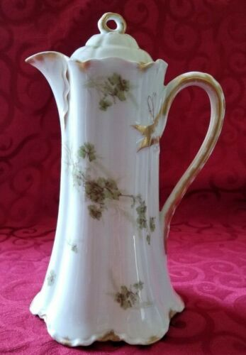 """ANTIQUE LIMOGES HAVILAND & CO CHOCOLATE POT COFFEE POT GREEN FLOWERS 11"""" TALL"""
