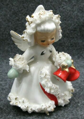 1958 Holt Howard Christmas Angel Girl Bells Candle Holder Figurine Spaghetti VTG