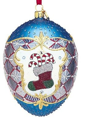 Reed & Barton Blown Glass Happy Holidays Egg Ornament C3094