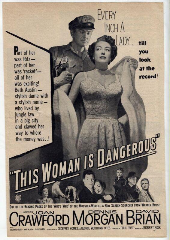 "VTG Movie ""This Woman is Dangerous"" 1952 Joan Crawford Magazine Print AD"