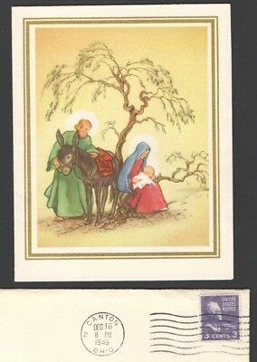 Vintage 1949 Christmas Card 3 Cent Stamp Christmas Seal Mary Joseph Baby Jesus