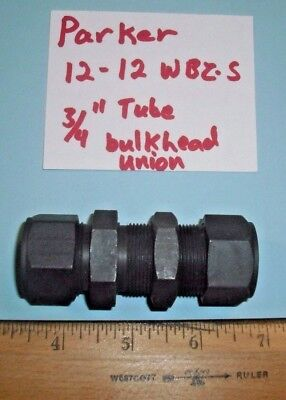 Parker High Pressure 3 4  Tube Hydraulic Bulkhead Union Coupling 12 12 Wbz S