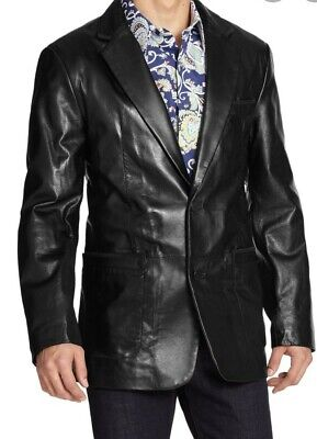 Robert Graham Turin Leather Jacket Blazer Size 42 Black