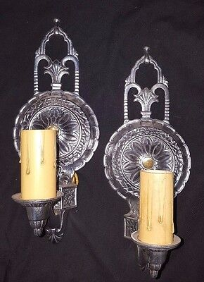 Art Deco Cast Aluminum Polished and Lacquered Light Sconces Set of Two