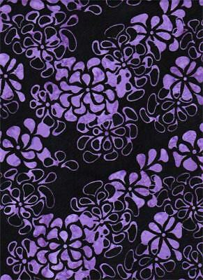 BATIK MOOD RINGS PURPLE FLOWERS ON BLACK - BLANK TEXTILES - BTHY - 18