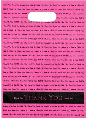 9x12 Hot Pink Thank You Die Cut Handle Plastic Bags - 50pcs