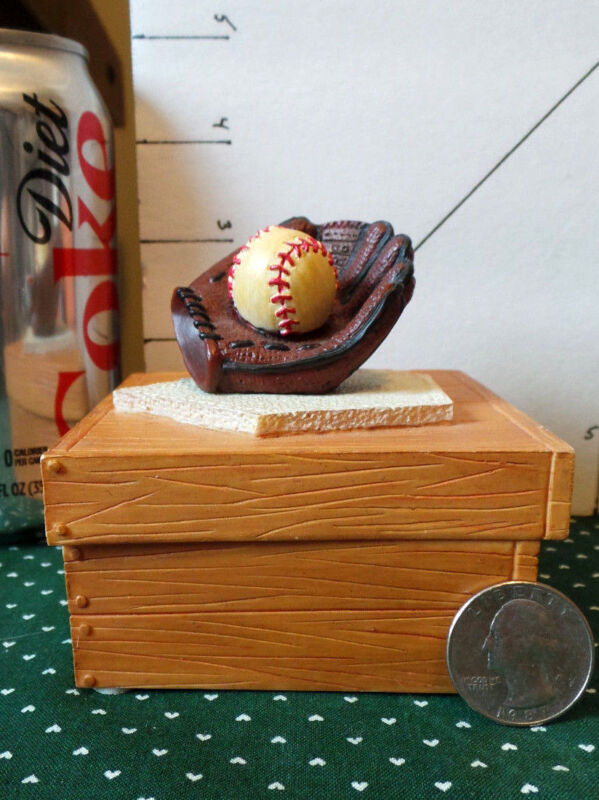 Baseball Glove, Ball, &Base onTrinket/Jewelry Box- Hand Painted-by RUSS