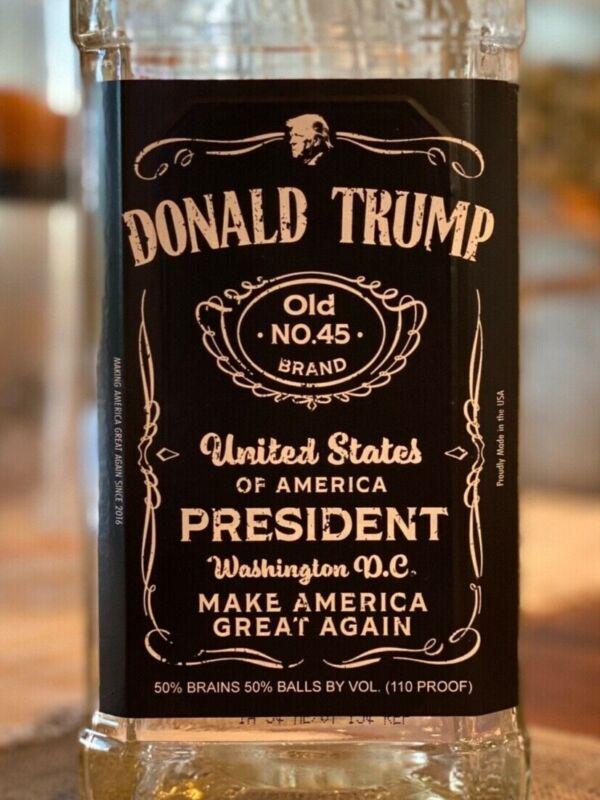 Trump Gift, Donald Trump Jack Daniels Liquor Bottle Label, Trump 2020, MAGA