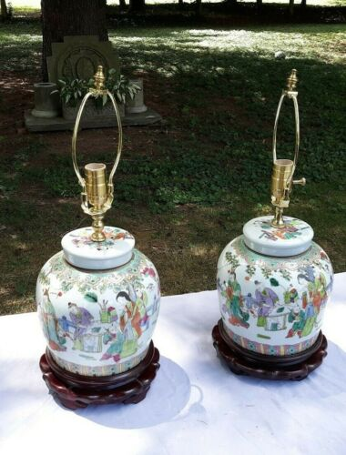 Pair Antique Chinese Porcelain Lidded Jars Mounted as Lamps