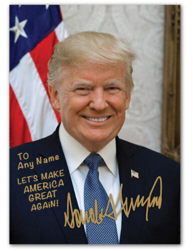 PERSONALIZED President Donald Trump American Flag Autographed 5x7 Photo MAGA