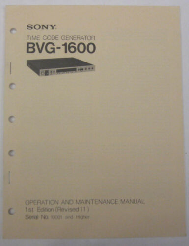Service Manual For Sony BVG-1600 Time Code Generator
