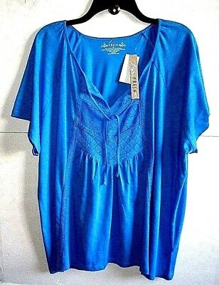 FRESH 2X BLUE SCOOP V-NECK KNIT+LACE PULLOVER TUNIC w/Tie Cotton/Poly S/S NWT