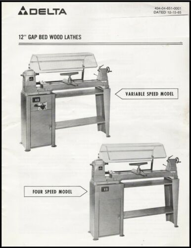 "Delta Model 46-612 & others 12"" Gap Bed Wood Lathe 4 Speed & Vari Speed"