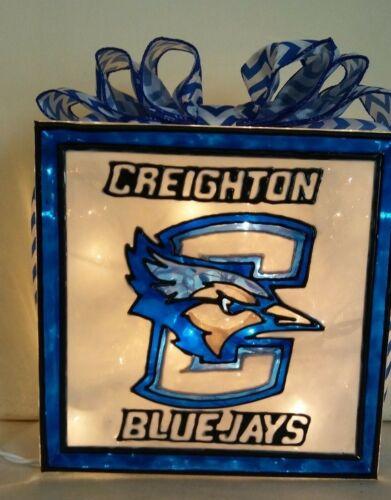 Creighton Bluejays inspired Lighted Hand Painted Glass Block