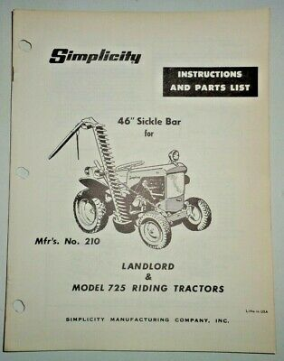 Simplicity 46 No.210 Sickle Bar Mower Owners Parts Manual Oem 725 Landlord